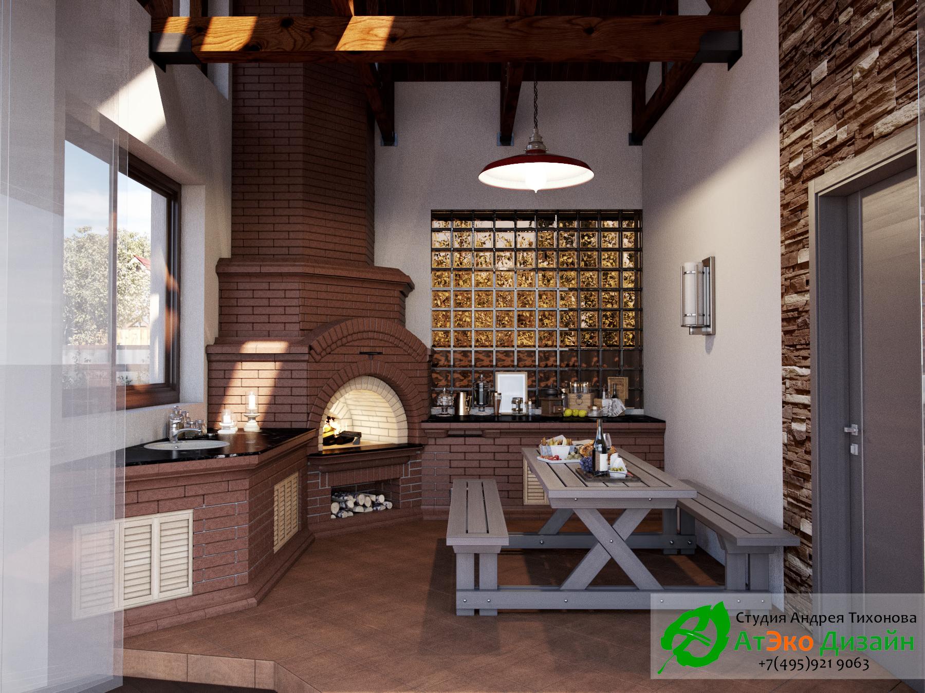 Гостиная для барбекю проект архитектуры гостевого дома