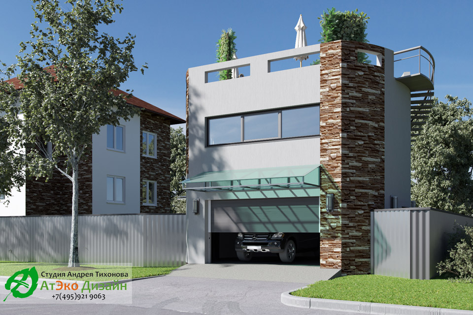 Дизайн архитектуры гаража со стороны выезда