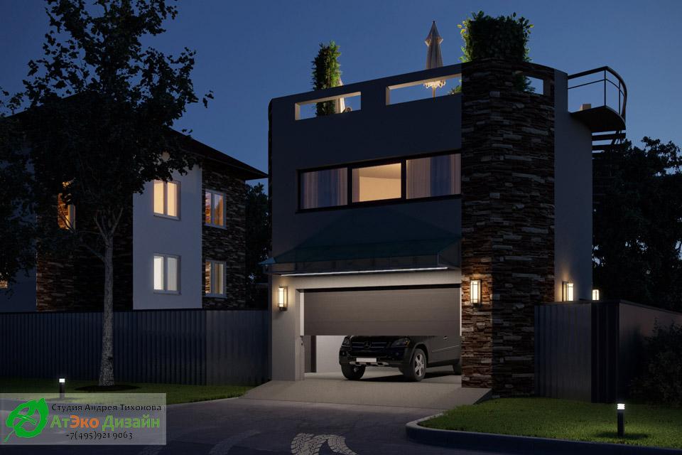 Архитектура гаража в ночное время с освещением. Выезд