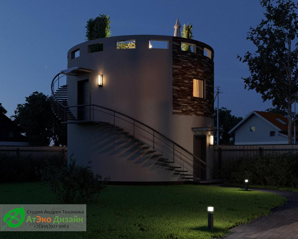 Архитектура двухэтажного гаража в ночное время с освещением