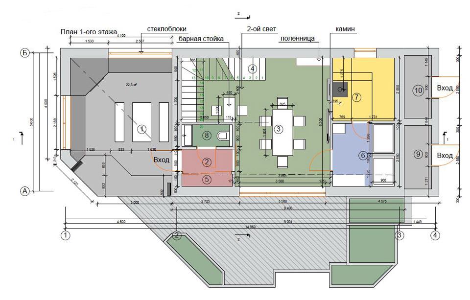 Планировка гостевого дома на проекте