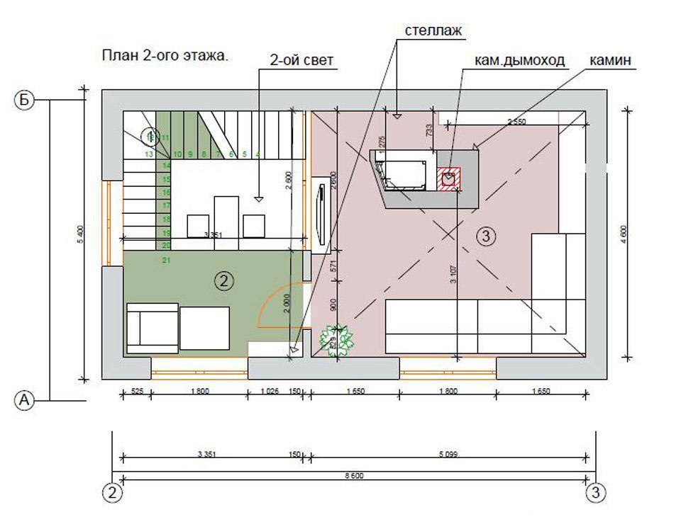 Планировка гостевого дома на проекте второй этаж