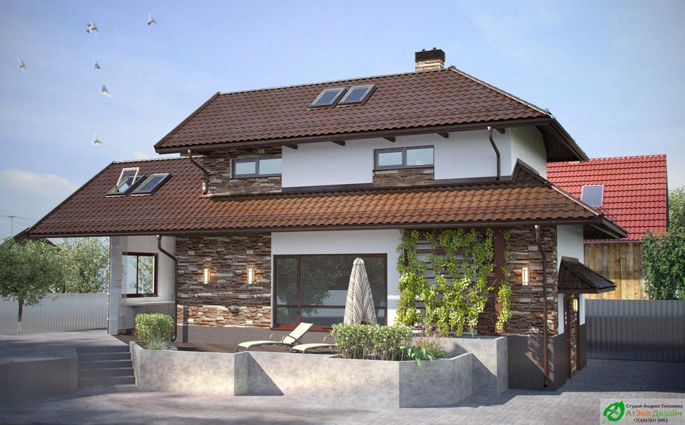 Архитектура фаса гостевого дома с баней