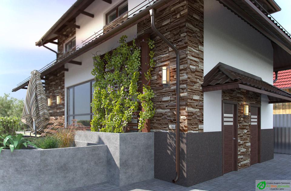 Архитектурный проект гостевого дома с баней