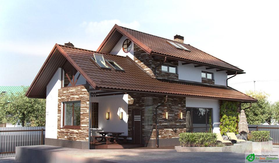 Фасад гостевого дома архитектурный проекта АтЭко дизайн