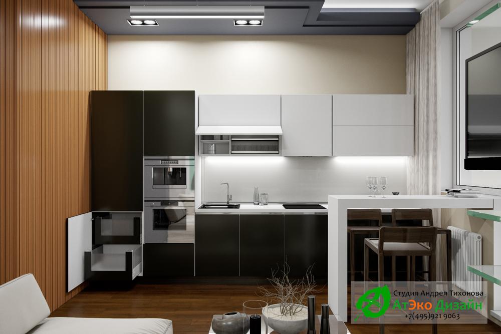 Дизайн современной кухни в квартире Сколково