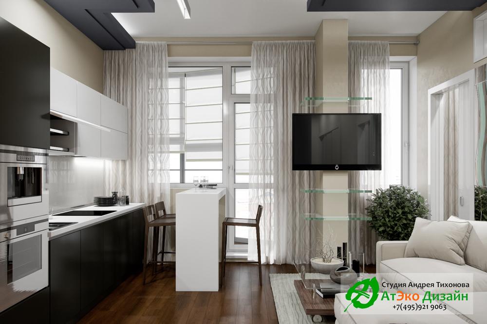 Дизайн современной кухни-гостиной в квартире Сколково