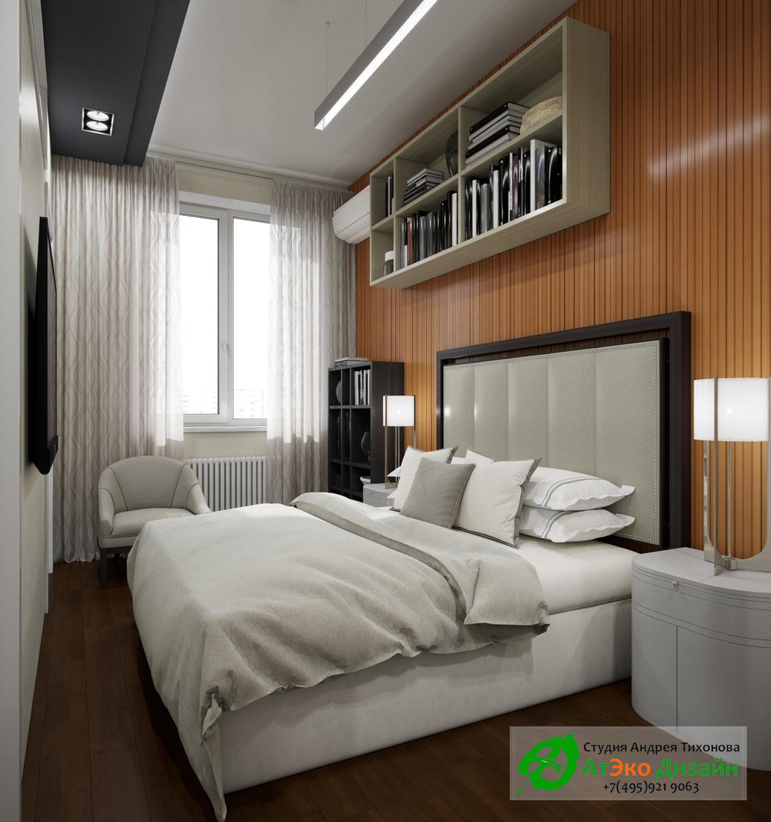 Фото дизайна современной спальни в квартире Сколково