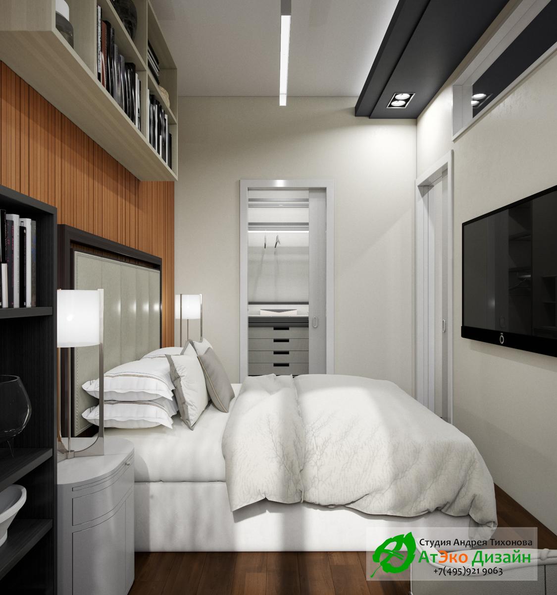 Фото дизайна современной спальни с гардеробом в Сколково
