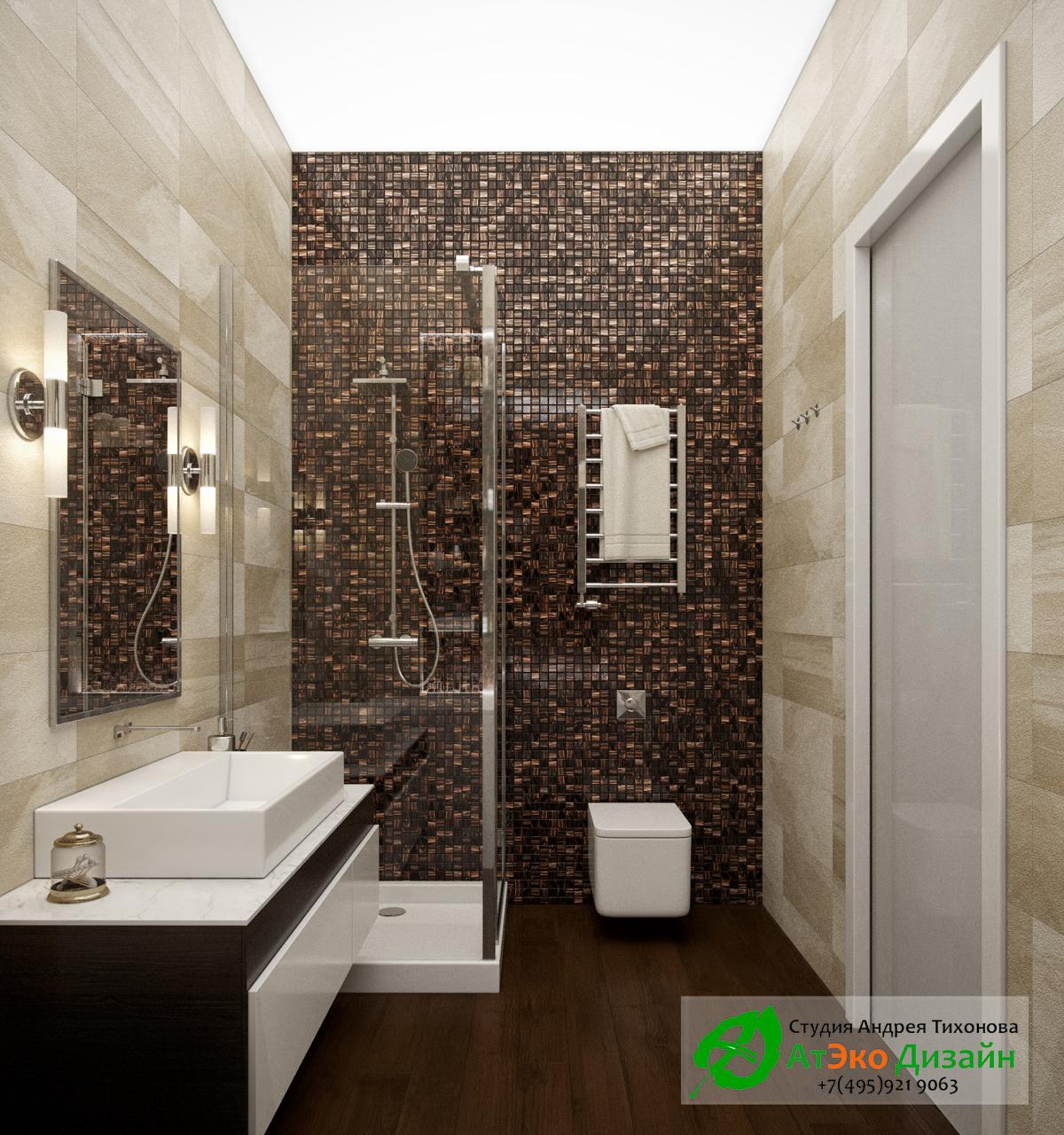 Фото дизайна ванной комнаты с туалетом в современном стиле в квартире Сколково