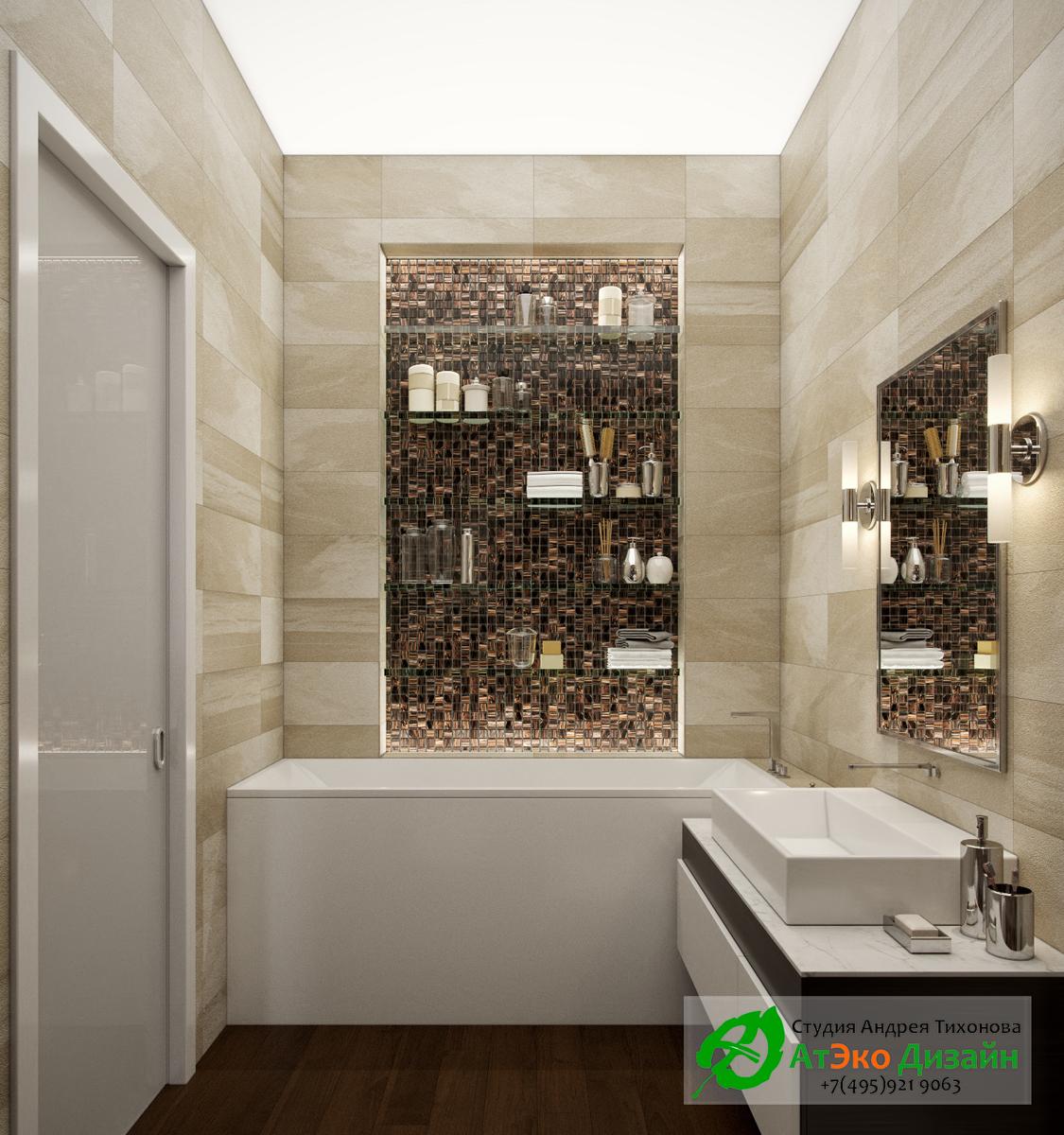 Фото дизайна современной ванной комнаты в квартире Сколково