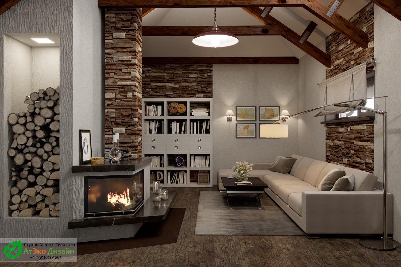 Фото дизайна гостиной с камином в гостевом доме