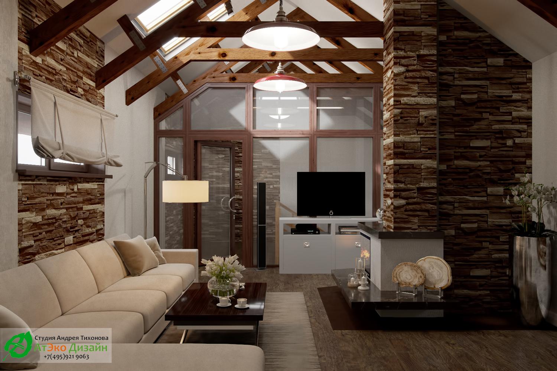 Фото дизайна гостиной с диваном и камином на второй этаж гостевого дома