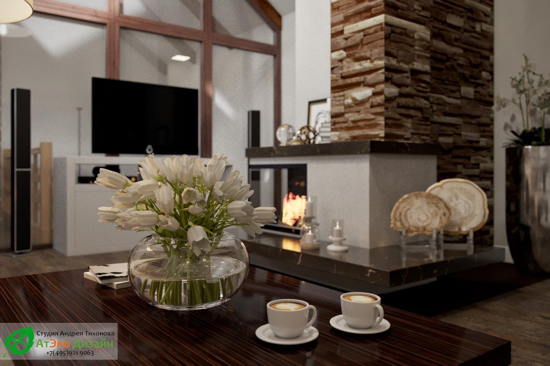 Фото дизайна гостиной с камином в гостевом доме с баней и мангальной