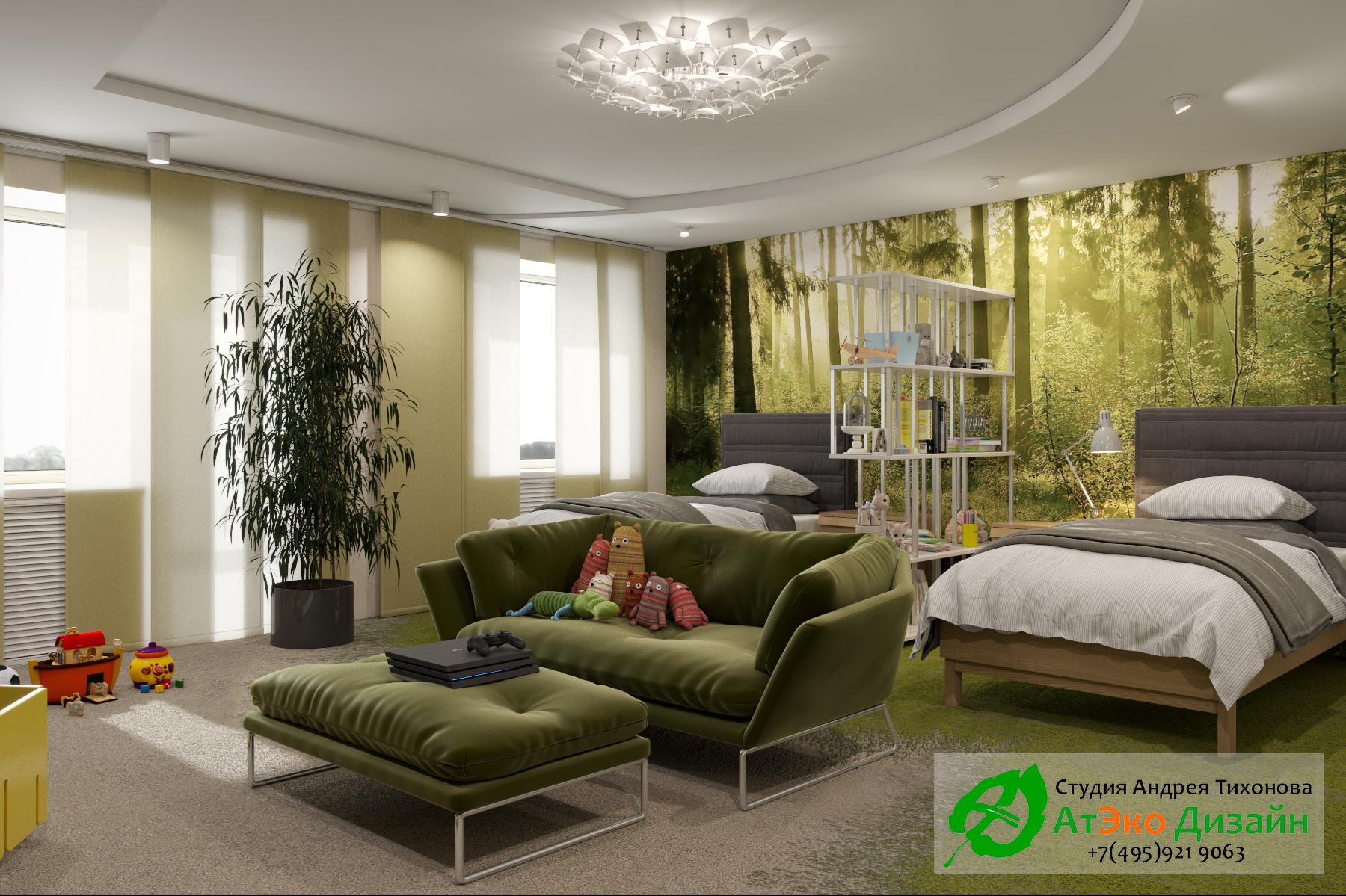 Фото дизайна спальной комнаты и зоны отдыха для детей в апартаментах