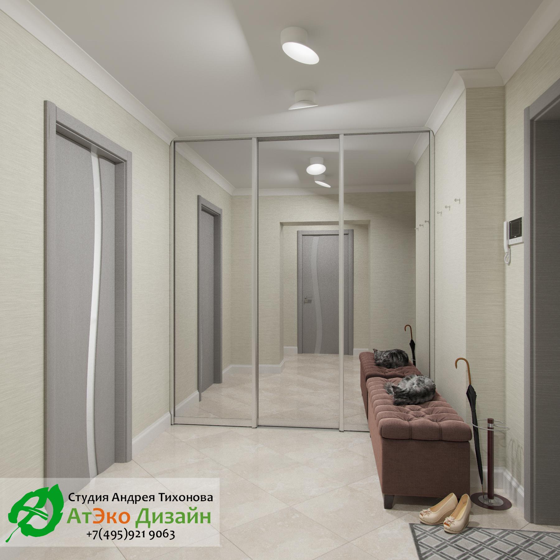 Фото дизайна прихожей в апартаментах для семьи с двумя детьми