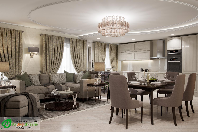 Фото дизайна кухни-гостиной в апартаментах для семьи с двумя детьми вид из гостиной
