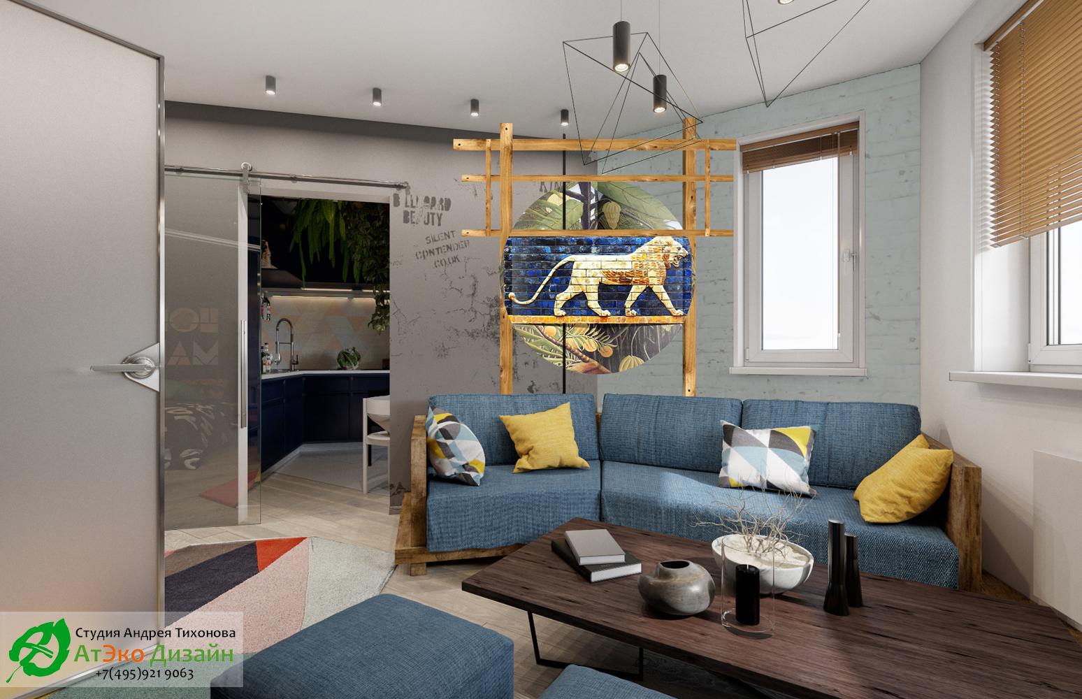 Фото дизайн проекта гостиной Эклектика