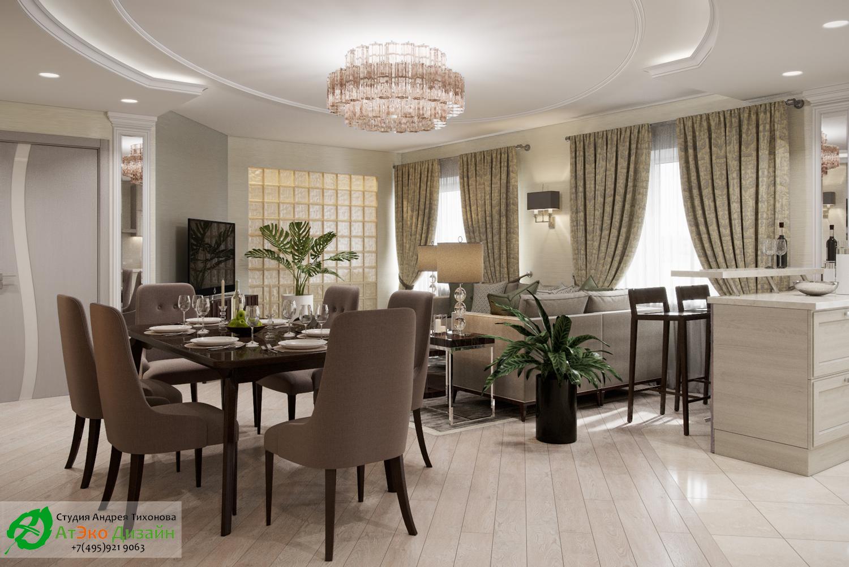 Фото дизайна кухни-гостиной в апартаментах для семьи с двумя детьми вид из кухни