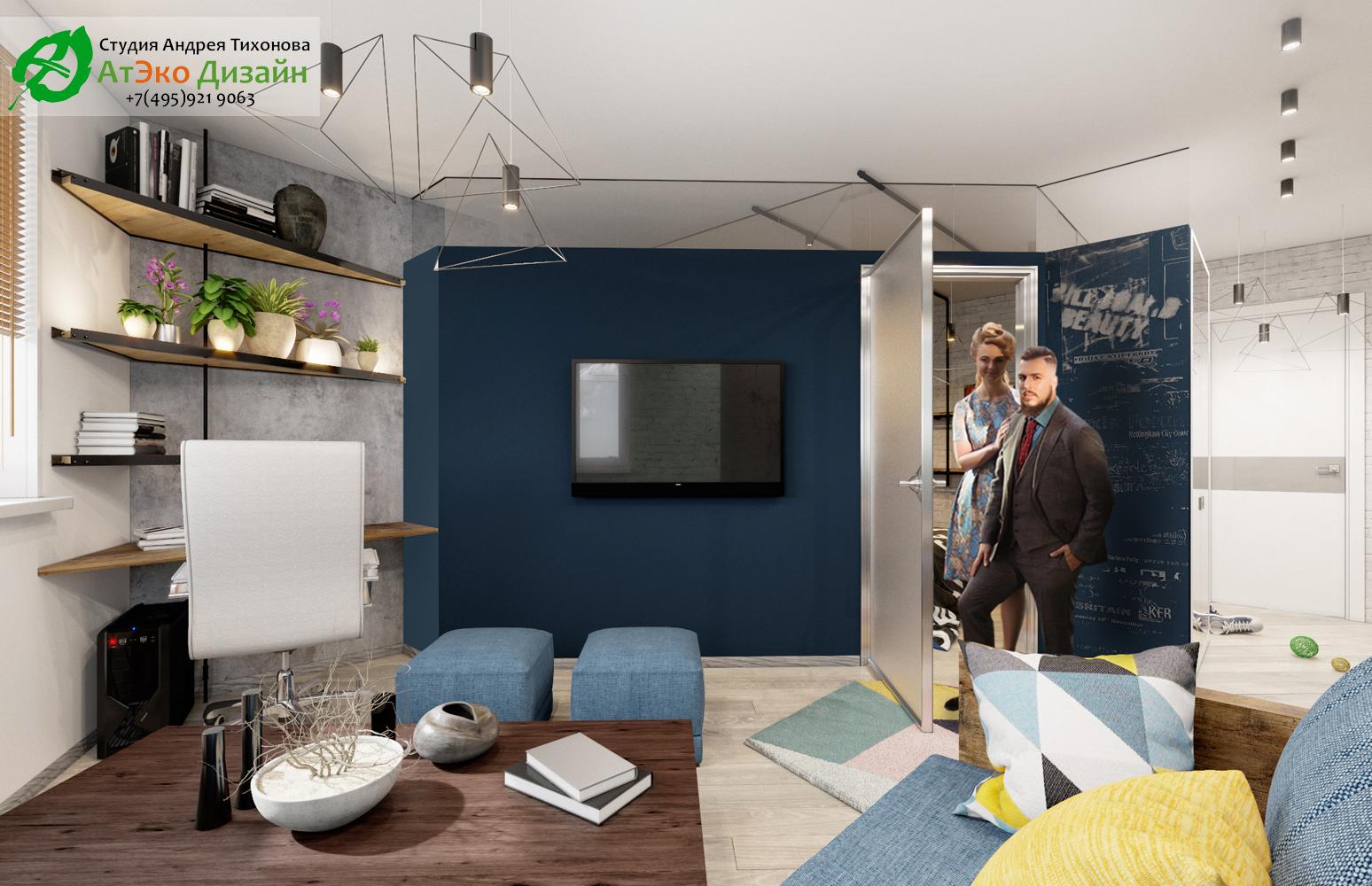 Фото дизайн проекта гостиной с элементами Эклектики