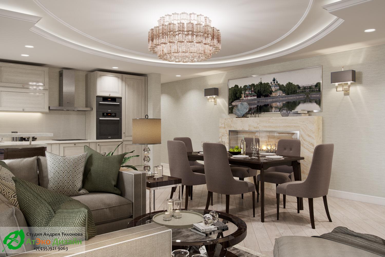 Фото дизайна кухни-гостиной в апартаментах для семьи с двумя детьми