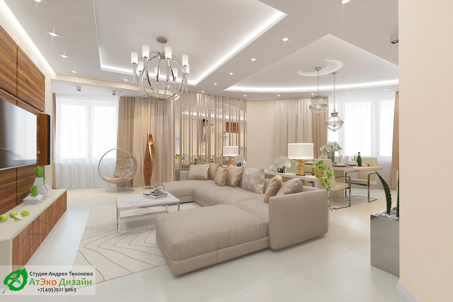 Дизайн интерьера гостиной совмещённой с кухней в светлых тонах