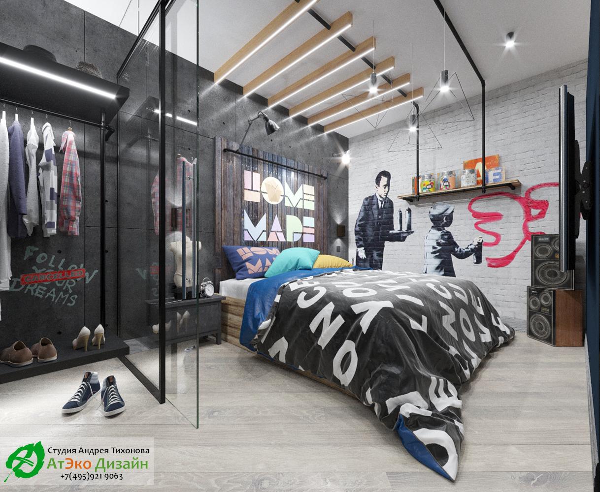 Фото второй вариант дизайн-проекта спальни Эклектика