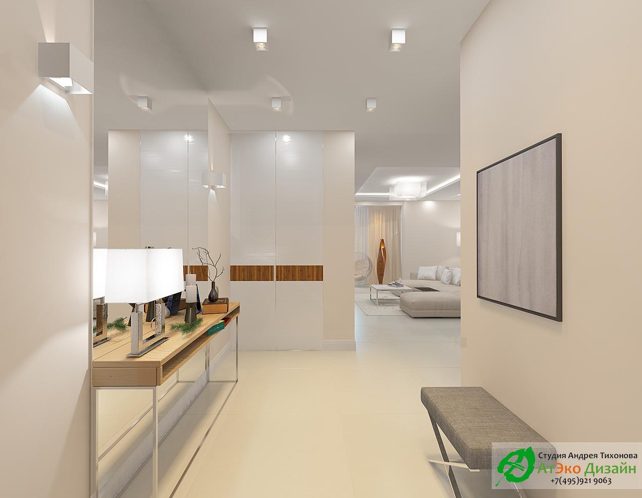 Дизайн интерьера прихожей в светлых тонах