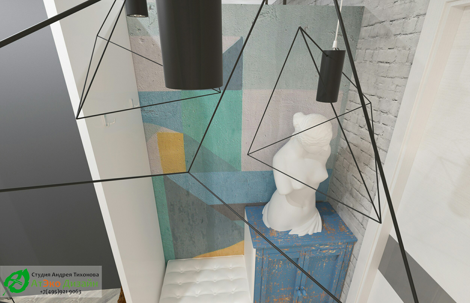 Вид коридора прихожей в стиле Эклектика дизайн проект