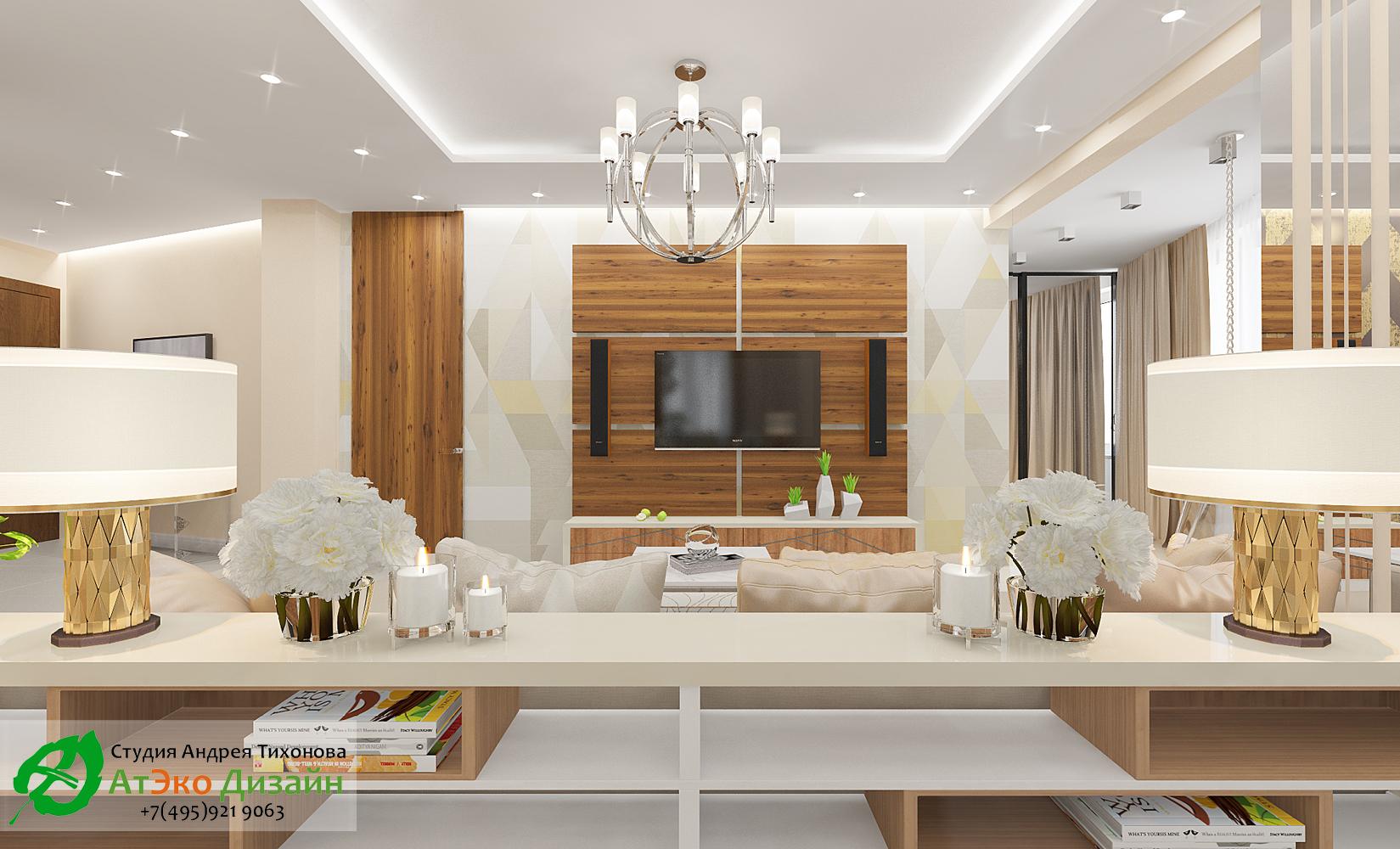 Дизайн интерьера гостиной совмещённой с кухней в светлых тонах вид из кухни