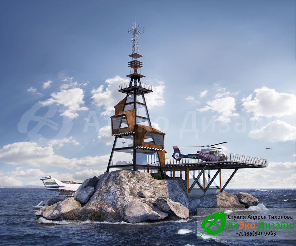 Дизайн проект архитектуры гостиницы с причалом на острове