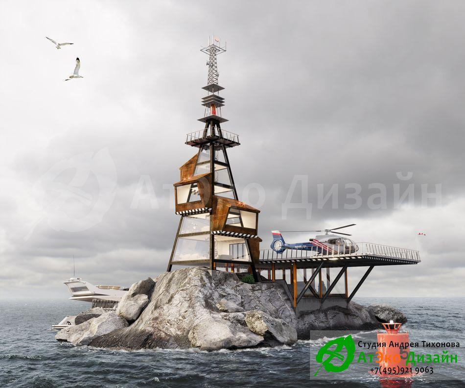 Дизайн проект архитектуры причала на скале в море