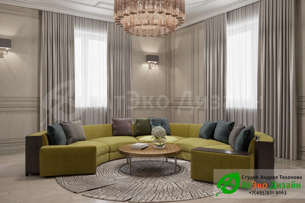 Дизайн интерьера гостинной загородного дома в стиле современного классического модернизма