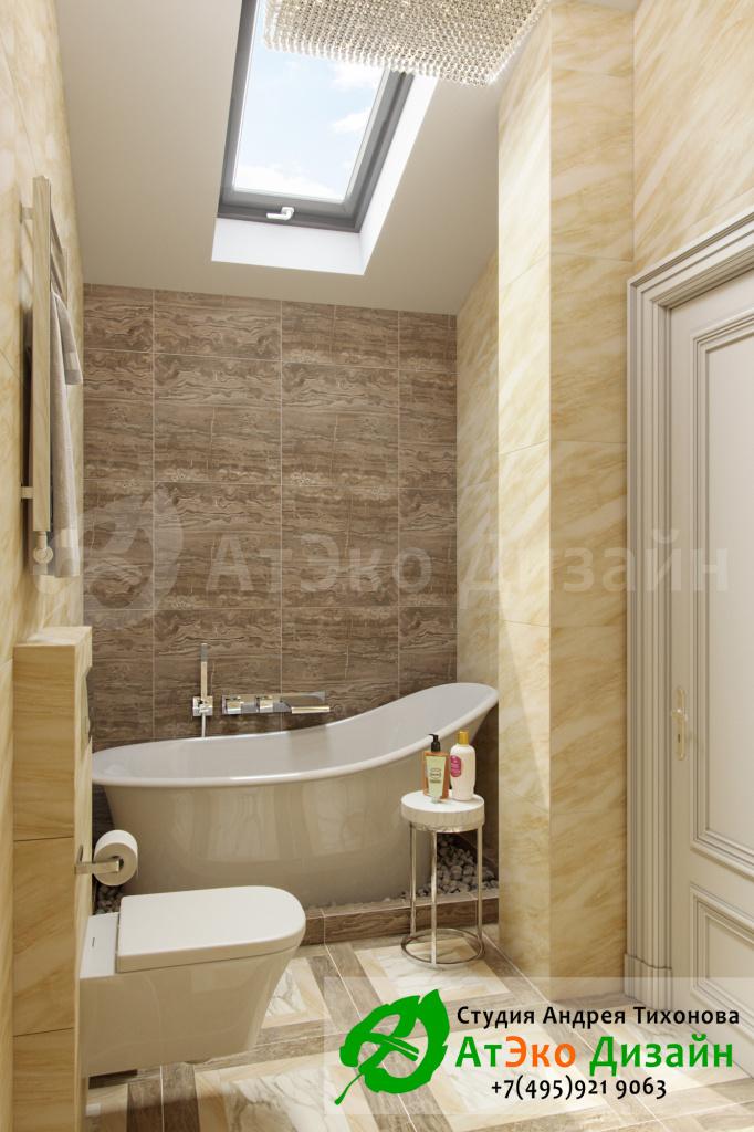 Дизайн интерьера санузла в гостевой спальни в загородном доме в стиле современного классического модернизма