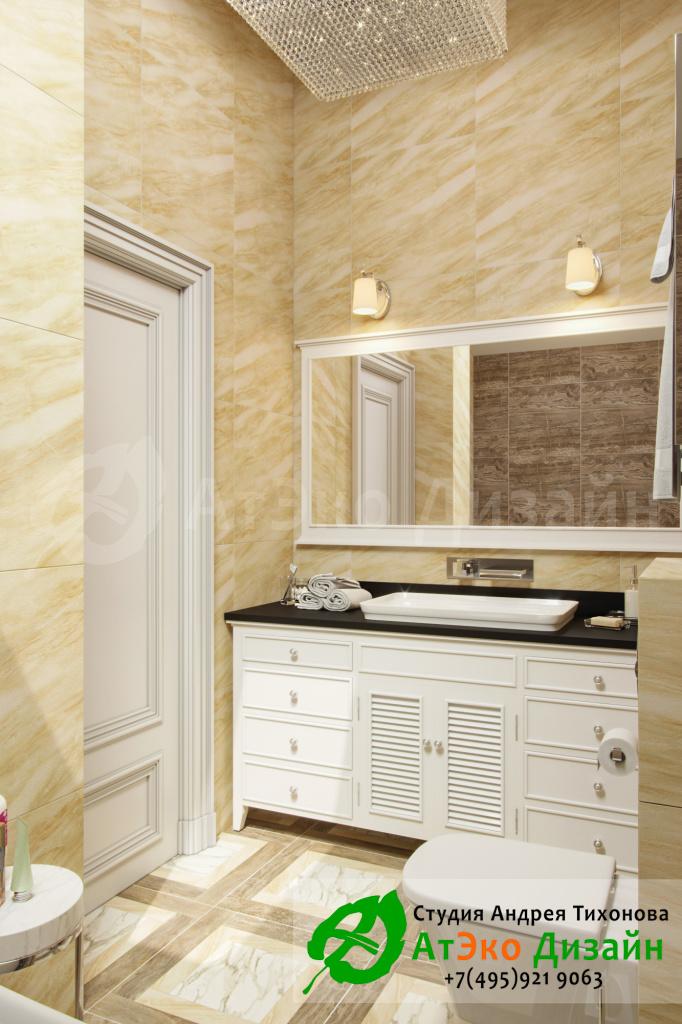 Дизайн интерьера ванной комнаты в гостевой спальни в загородном доме в стиле современного классического модернизма