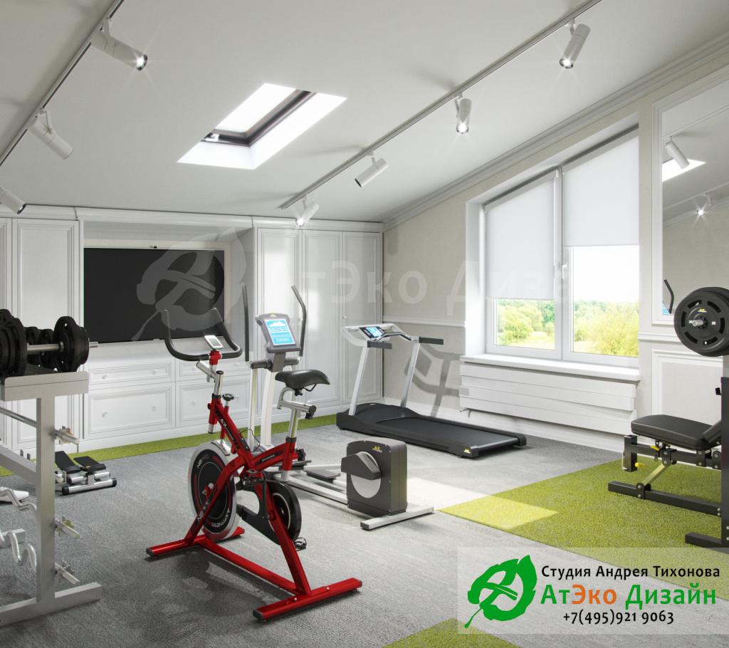 Дизайн интерьера спортзала в загородном доме в стиле современного классического модернизма