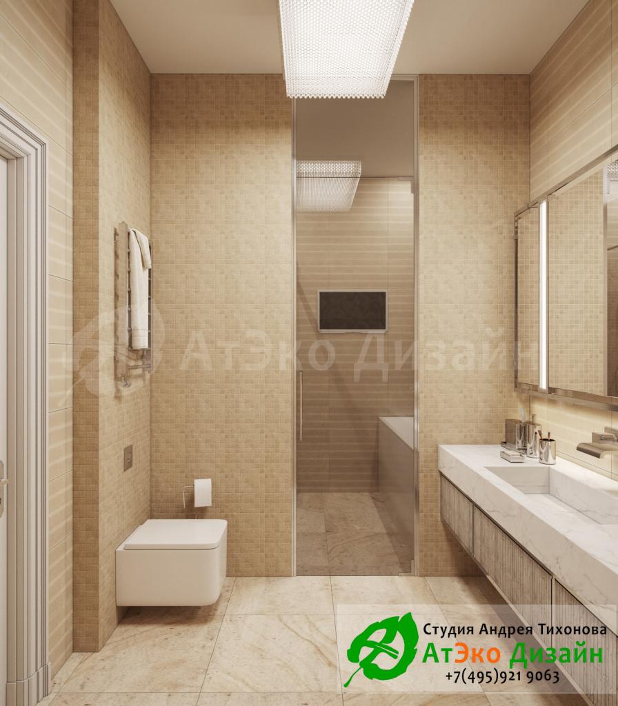 Дизайн интерьера ванной комнаты в спальне в загородном доме в стиле современного классического модернизма