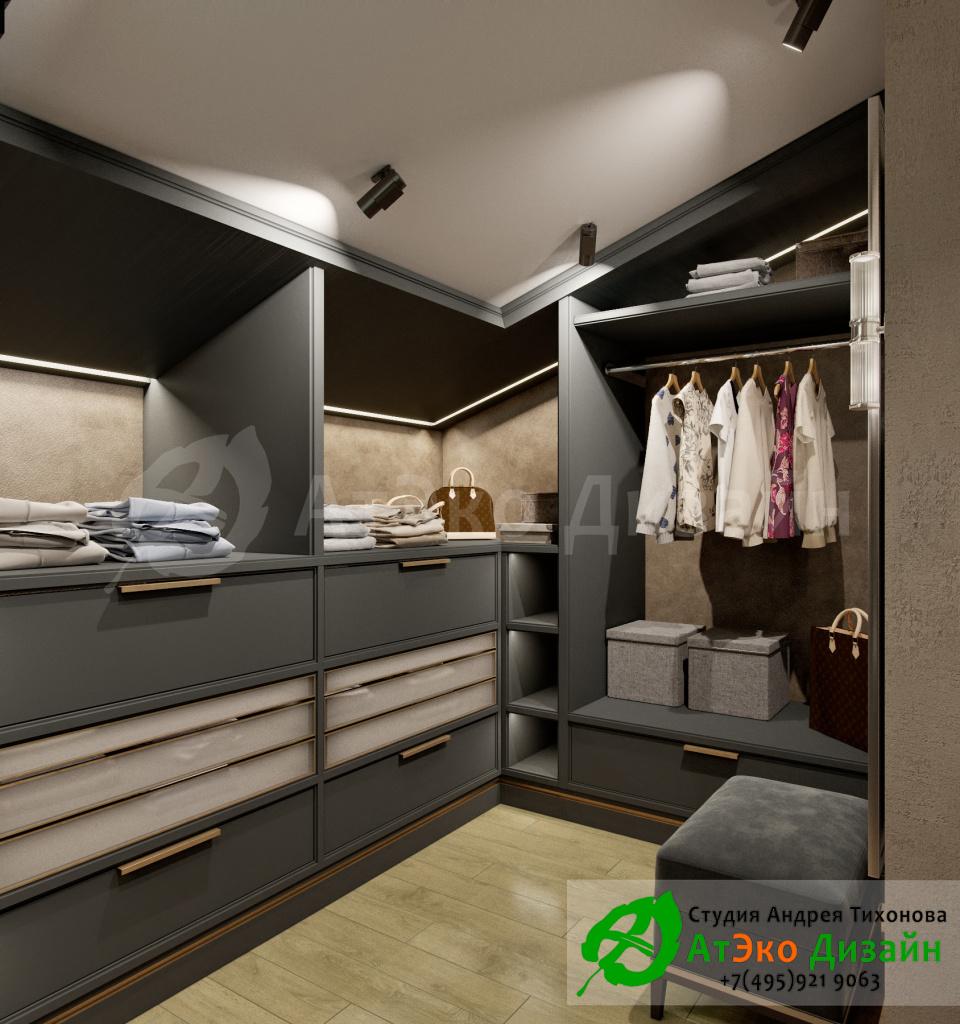 Дизайн интерьера просторной гардеробной в загородном доме в стиле современного классического модернизма