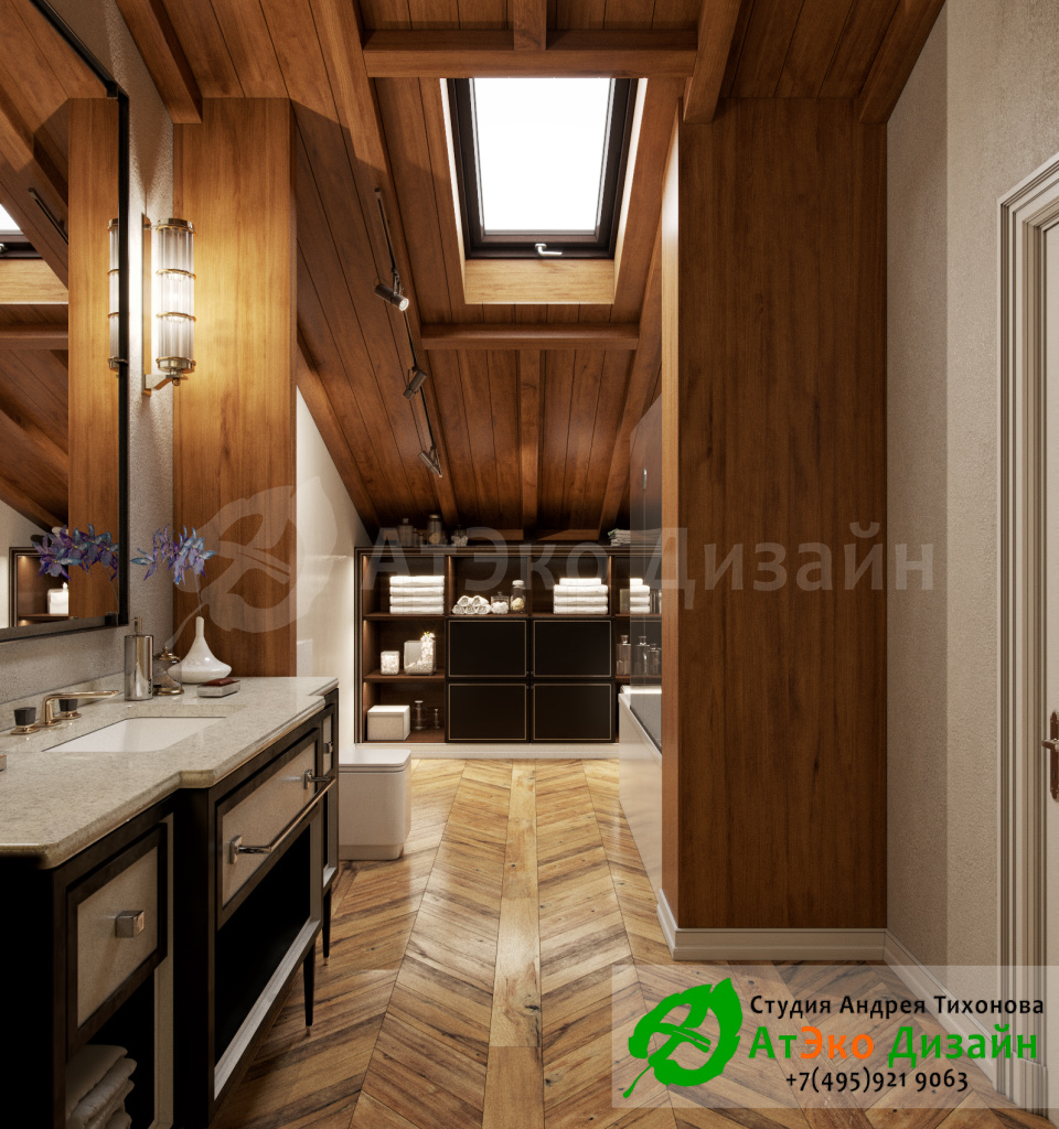 Дизайн интерьера спа зоны в загородном доме в стиле современного классического модернизма