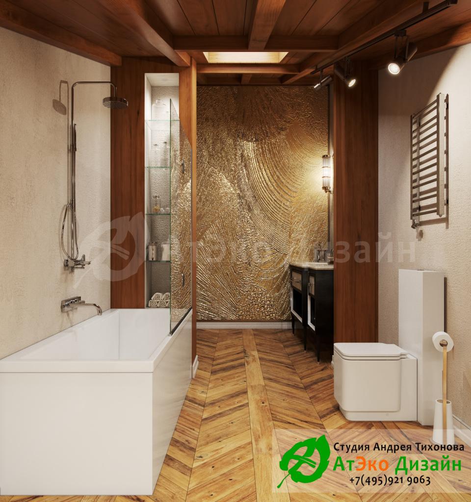 Дизайн интерьера санузла спа зоны в загородном доме в стиле современного классического модернизма