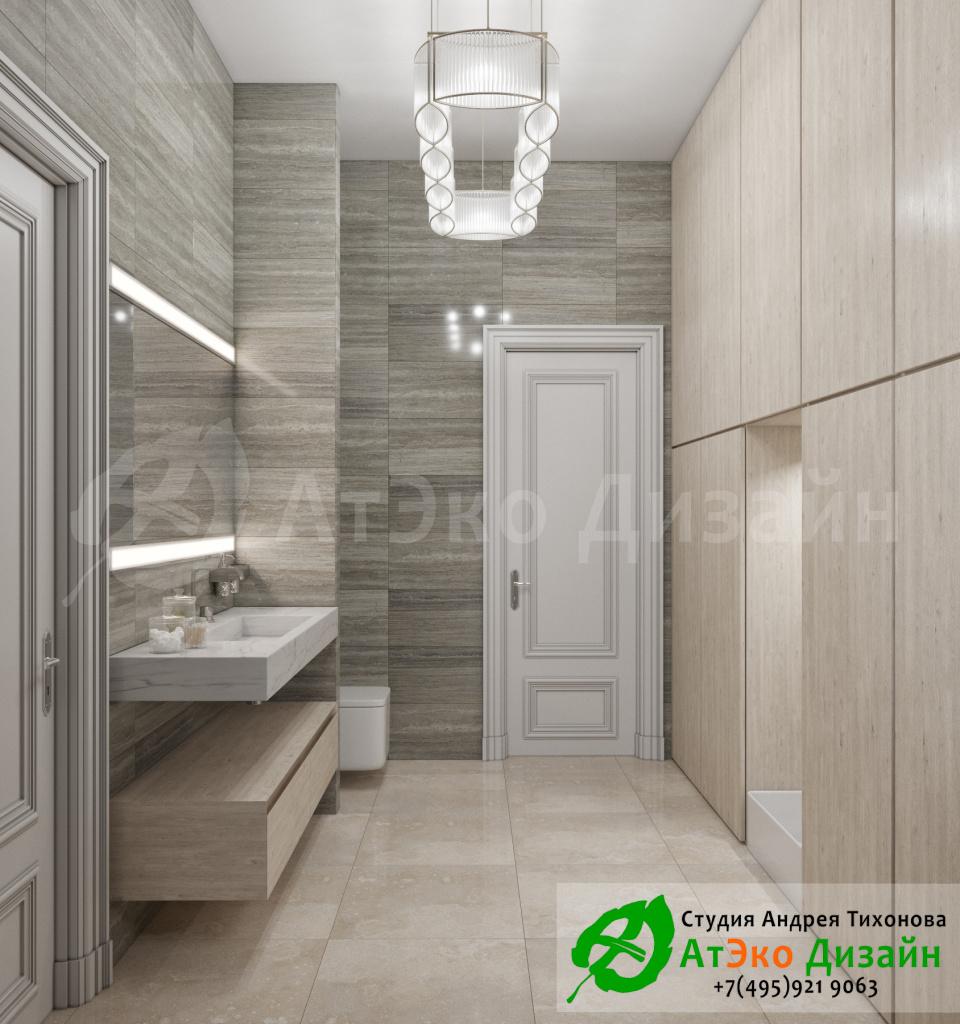 Дизайн интерьера ванной комнаты загородного дома в стиле современного классического модернизма