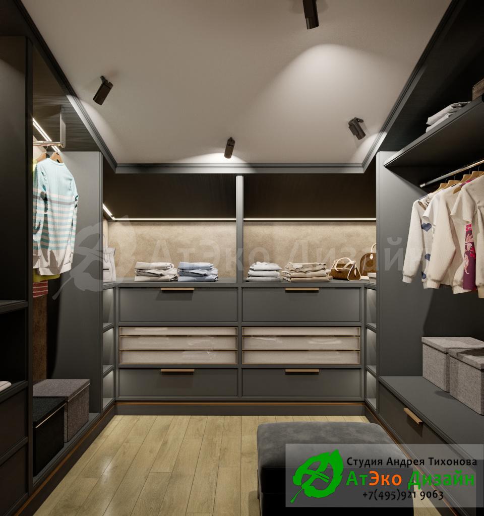 Дизайн интерьера гардеробной в загородном доме в стиле современного классического модернизма