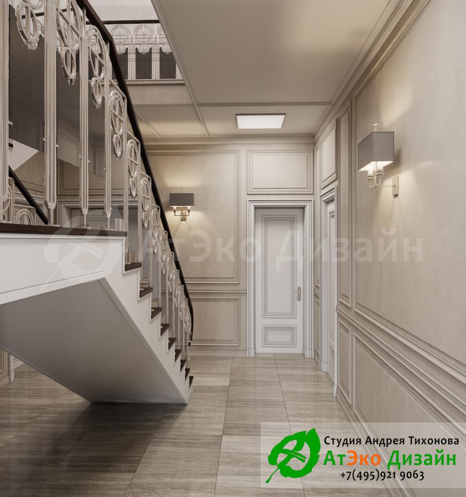 Дизайн интерьера лестницы на второй этаж в загородном доме в стиле современного классического модернизма