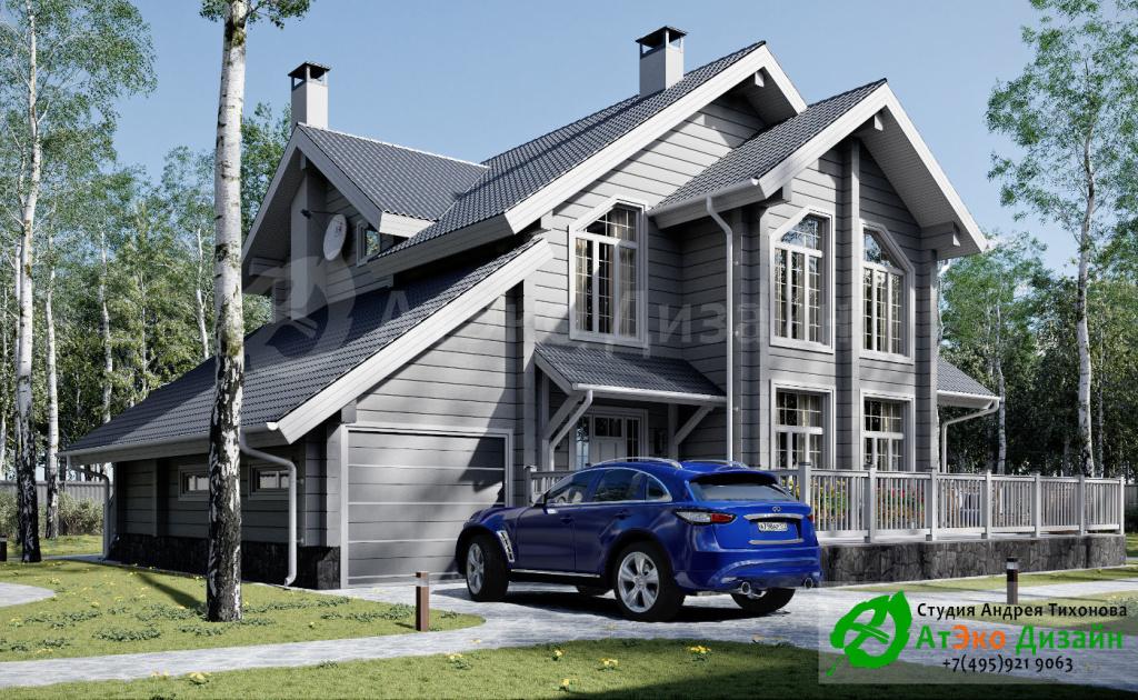 Дизайн-проект архитектуры дома с гаражом