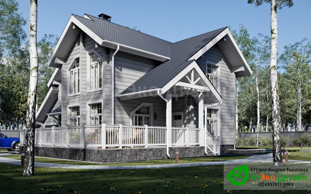 Дизайн-проект архитектуры дома 250м2 с гаражом
