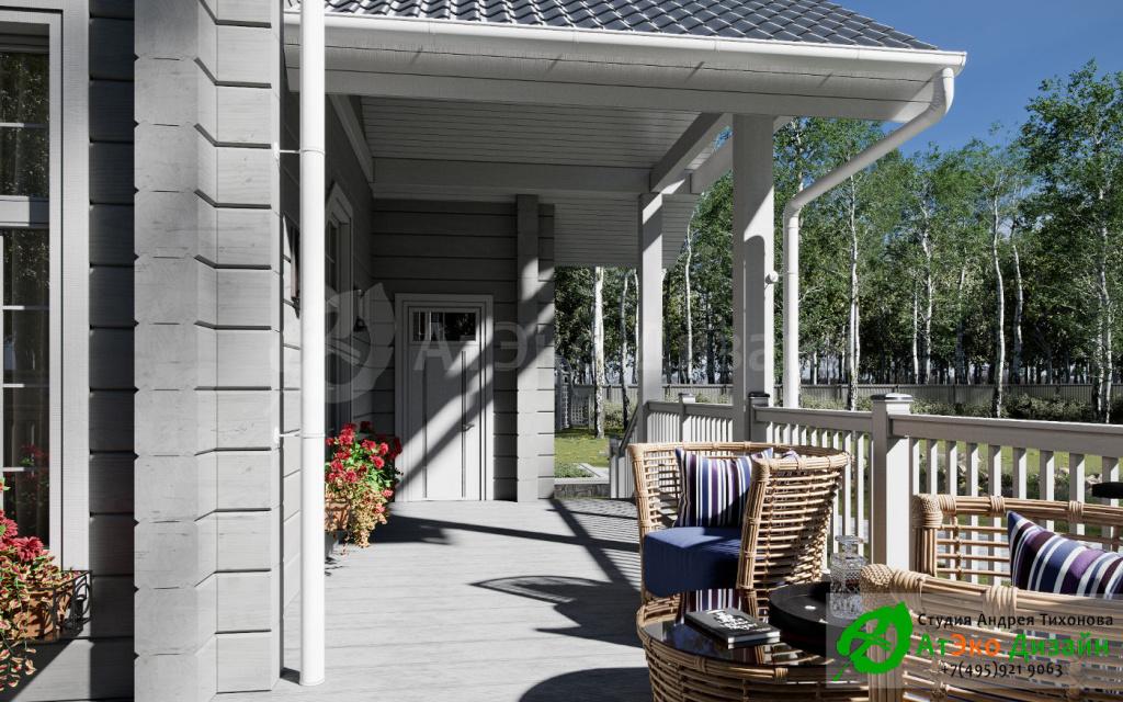 Дизайн-проект веранды в видом во двор дома