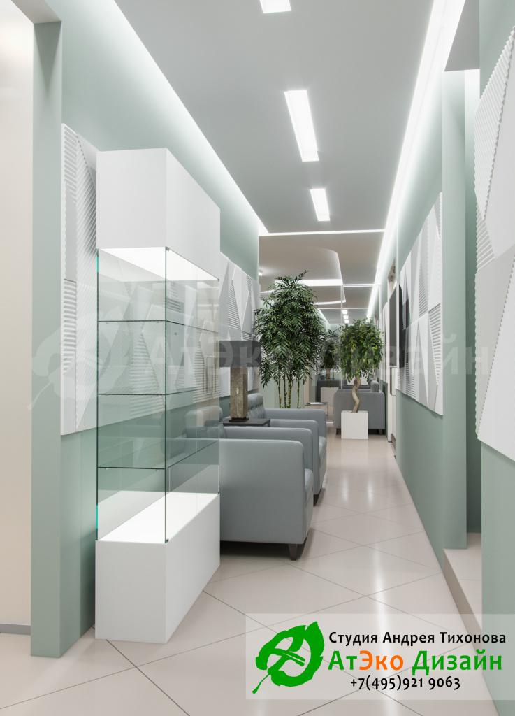 Дизайн-проект интерьера стоматологии Дентас коридор ожидания