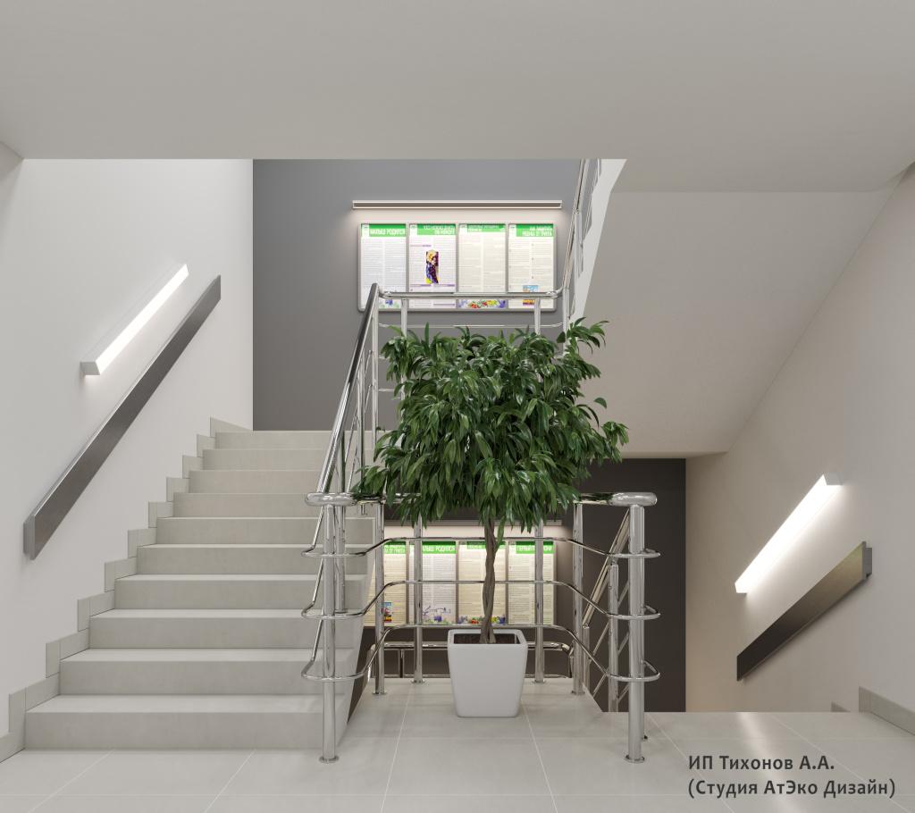 Дизайн-проект единого стиля поликлиник Москвы лестница