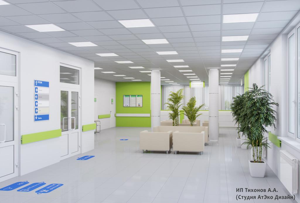 Дизайн-проект единого стиля детских стоматологических поликлиник Москвы главный холл
