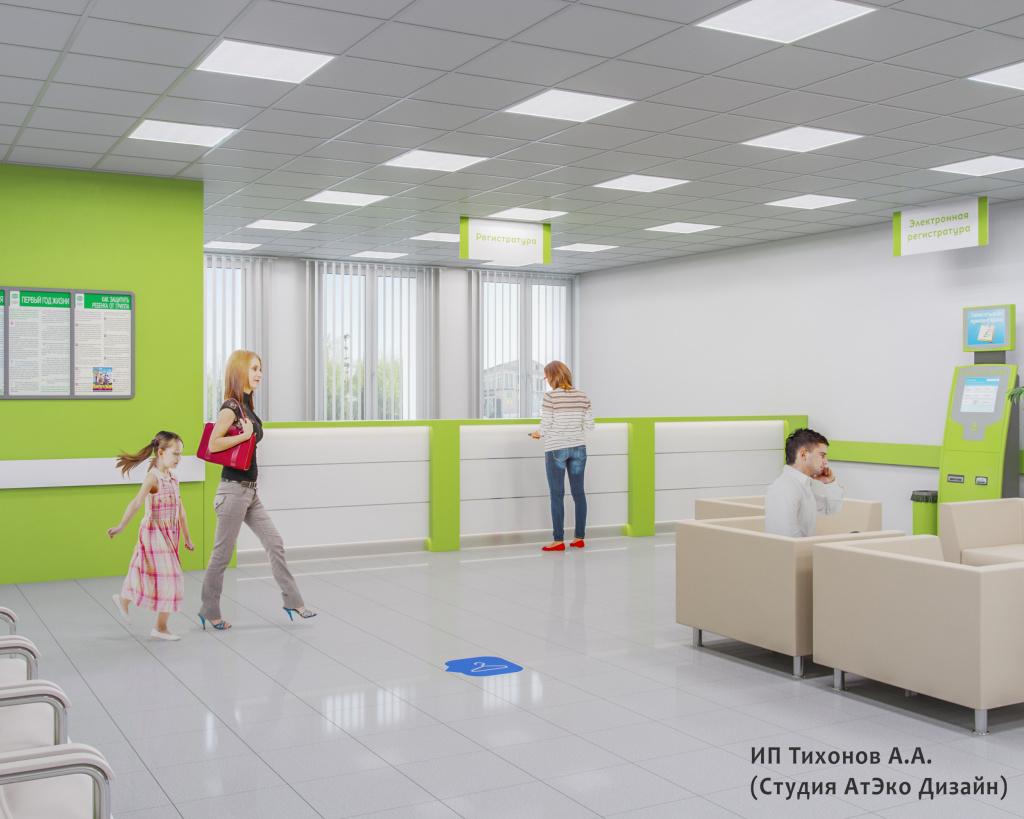 Дизайн-проект единого стиля детских стоматологических поликлиник Москвы холл